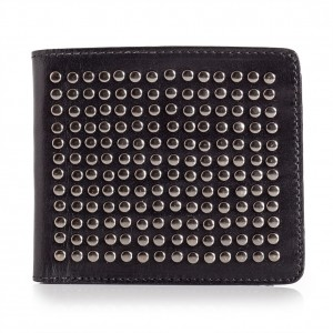 Mens Bifold Studded Leather Wallet