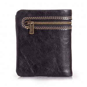 Zipper Wallet for Men Black Leather
