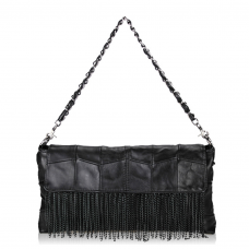 Fringe Leather Handbag Black