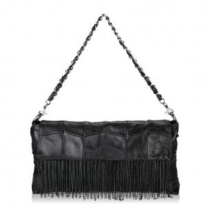Fringe Leather Handbag Black