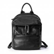 Black Leather Backpack Double Sraps