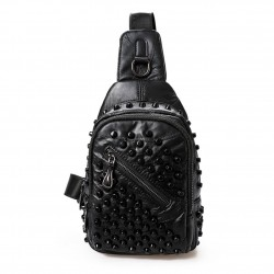 Mini Backpack with Studs Black