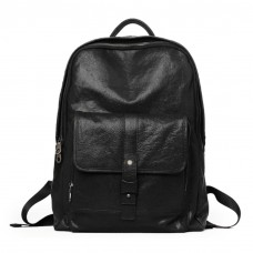 Black Leather Backpack Front Pocket