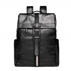 Black Leather Backpack Rectangular Shape
