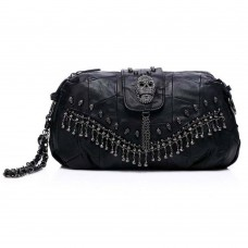 Punk Style Bag Leather Skulls Studs Black