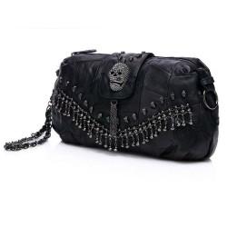 Punk Style Bag Leather Skulls Studs Black