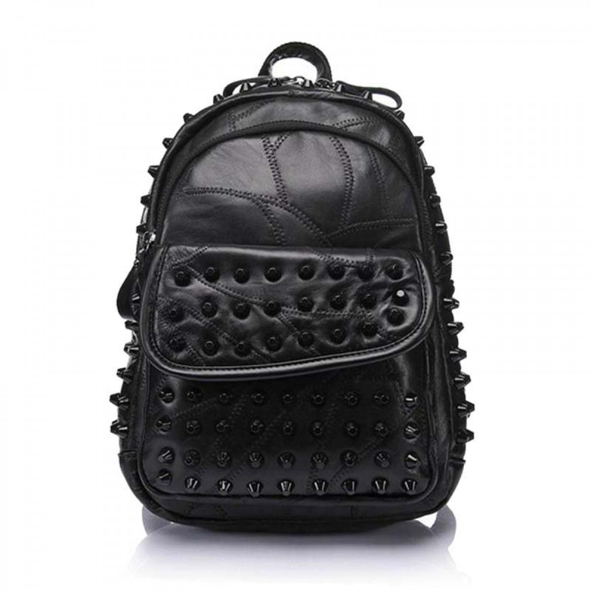 Spiked Backpack Punk Chic Black Leather | LATICCI