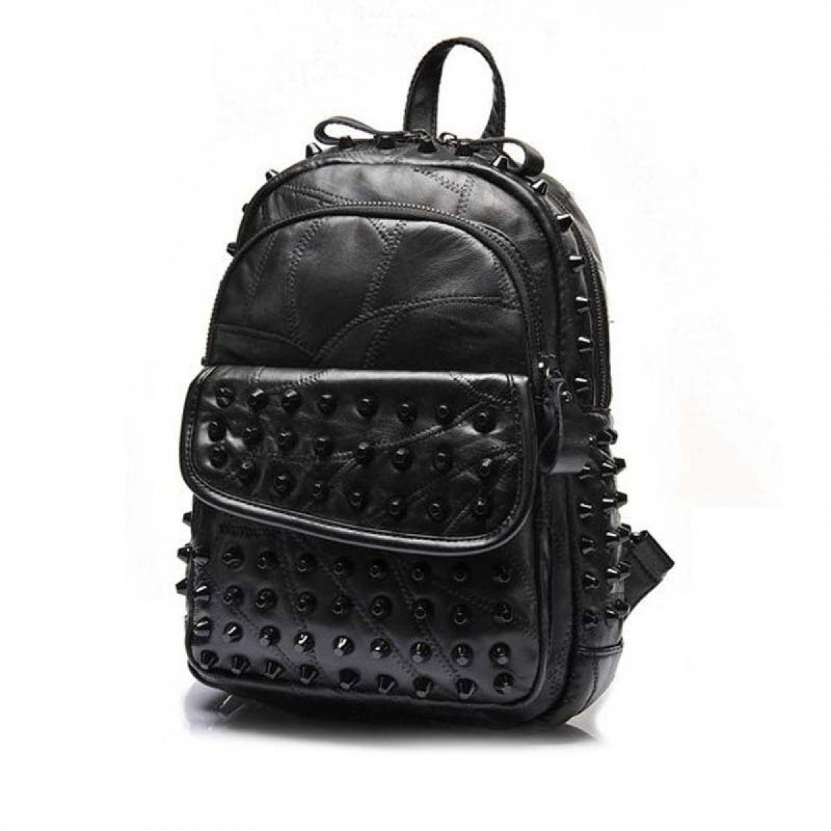 Spiked Backpack Punk Chic Black Leather   LATICCI