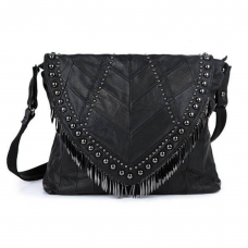 Black Leather Purse with Studs and Fringes