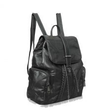 Punk Black Leather Backpack