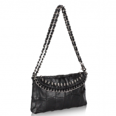 Black Leather Purse With  Skull and Studs