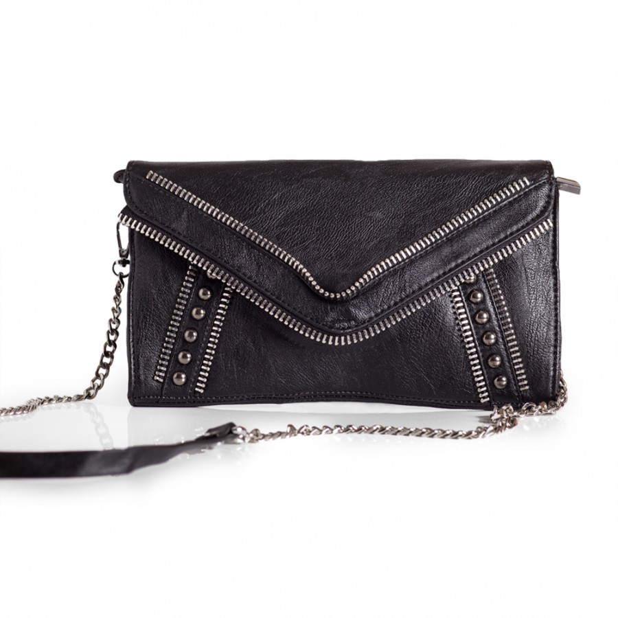 Black Wristlet Handbag Zipper Detail