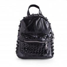Womens Black Studded Backpack