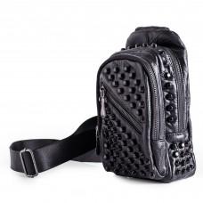 Studded Sling Bag Soft Lambskin Leather Black