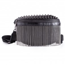 Ladies Crossbody Waist Belt Bag with Metal Tassles PU Leather