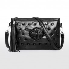 Black Studded Pouch Leather