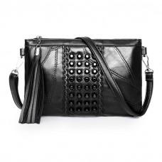 Black Studded Shoulder Cross-Body Handbag Lambskin Leather