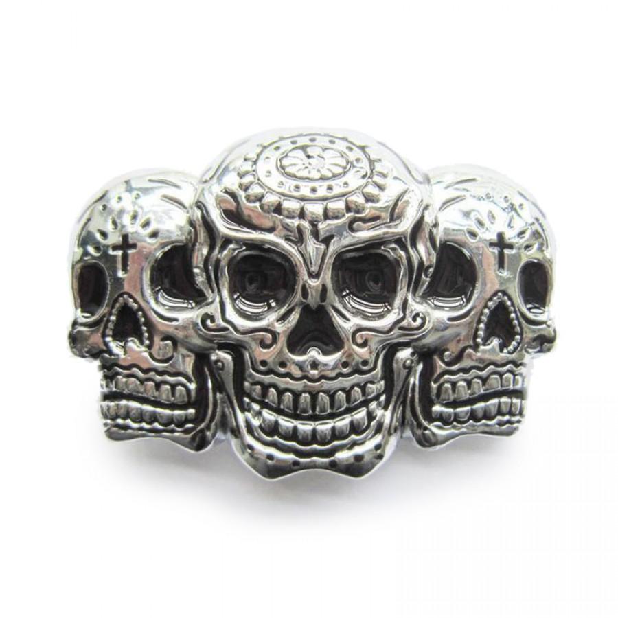 Three Skull Belt Buckle