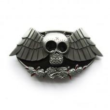 Bat Belt Buckle Skull Open Wings