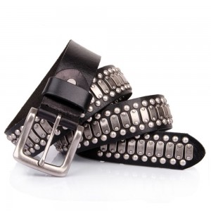 Mens Black Studded Punk Rock Belt Real Quality Leather Black Sizes 30-44