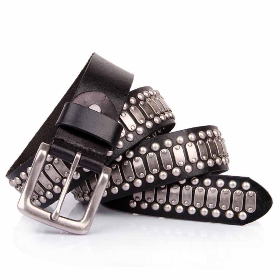 Mens Studded Punk Rock Belt Genuine Leather Black Sizes 30-44