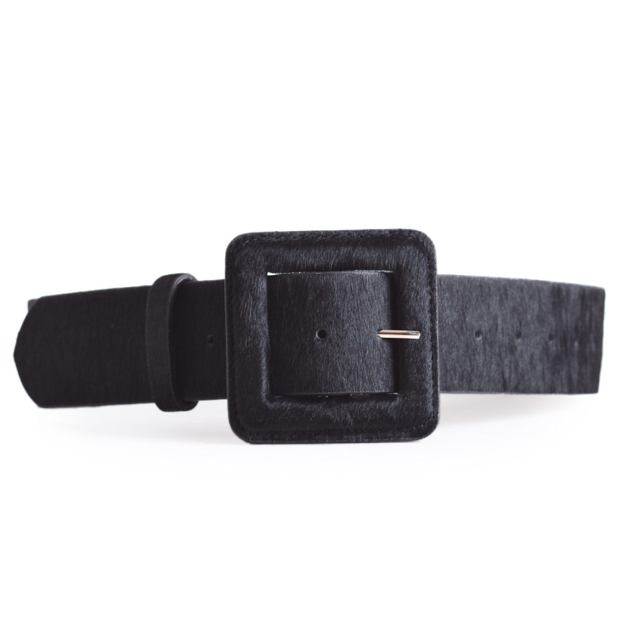 Black Pony Hair Leather Belt Ladies Sizes 26-36in