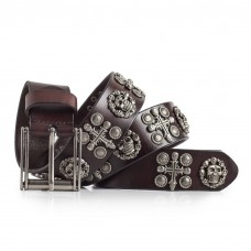 Skull Belt Brown Leather