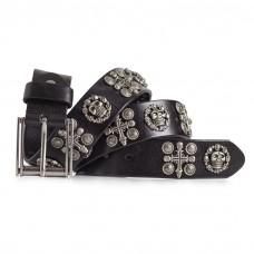 Skull and Crossbone Studded Leather Belt