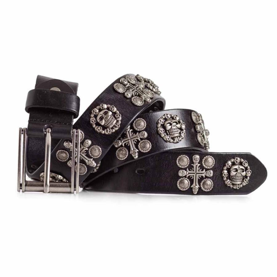 Skull and Cross Leather Belt