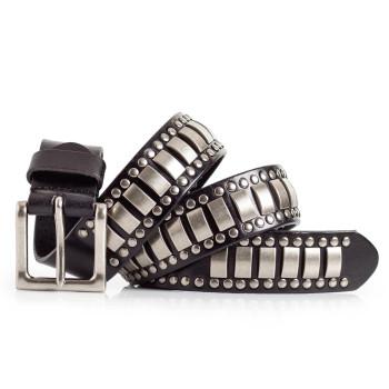 Mens Black Studded Leather Belt 1.5in