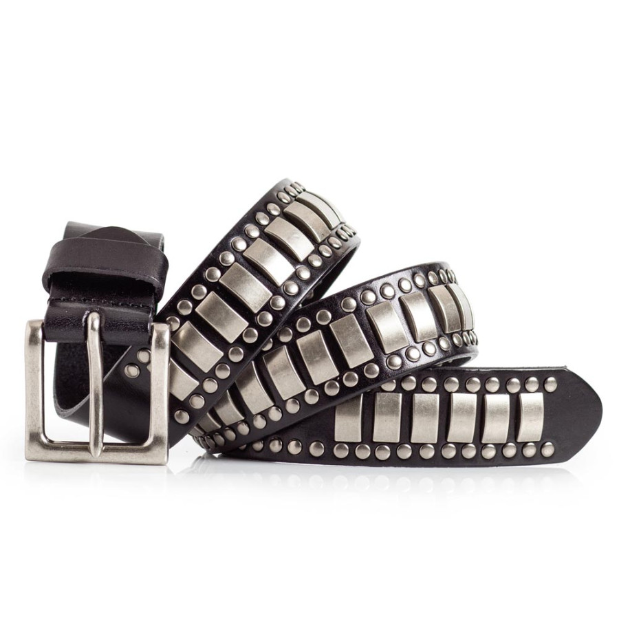 Stylish Black Leather Belt with Studs