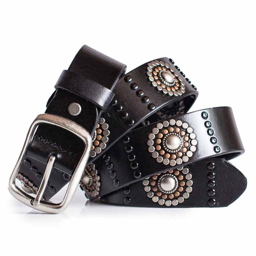 Womens Black Studded Belt