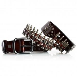 Brown Bullets Belt Leather
