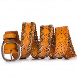 Ladies Boho Leather Belt Rust color