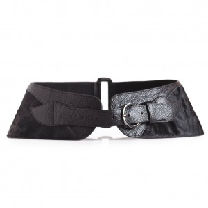Black Pony Hair Waist Belt