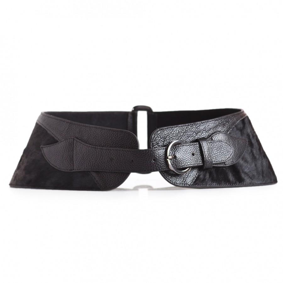 Black Pony Hair Waist Belt