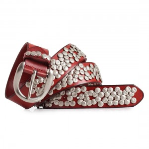 Red Studded Belt Womens