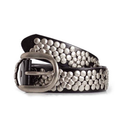 Womens Black Leather Studded Belt