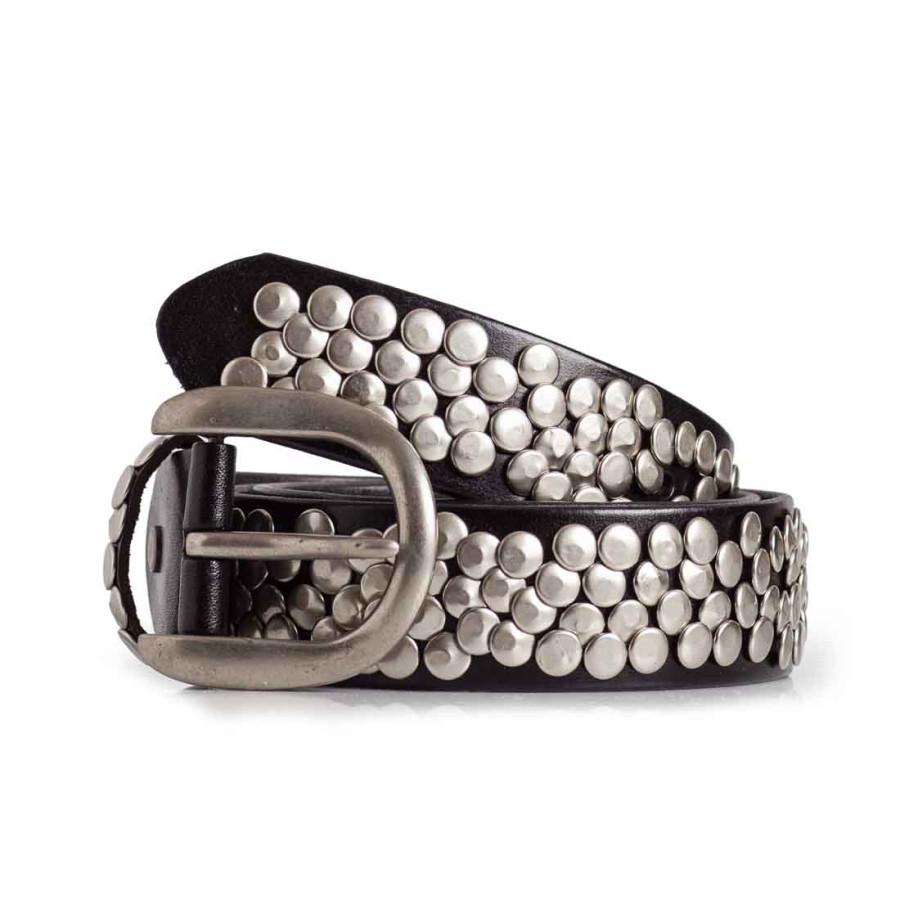 Womens Black Leather Studded Belt