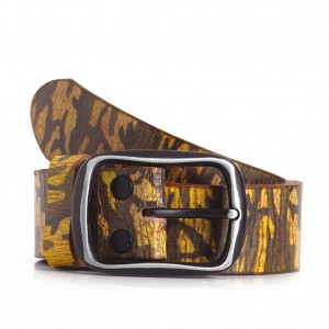 Camo Military Print Leather Belt