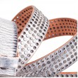 Rockstar Mix Stud Distressed White Belt Italian Calfskin Leather Sizes 30-44in 1.2in Width