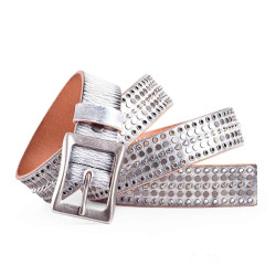 Rockstar Mix Stud Distressed White Belt Italian Calfskin Leather Sizes 30-44in 1.2in Width