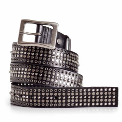 Black Studded Rock Belt Mens Genuine Calfskin Leather Sizes 30-44in