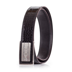Mens Dress Belt Genuine Leather Alligator Emboss Black-Brown Sizes 30-42