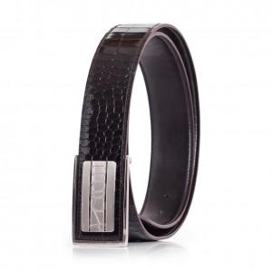 Mens Dress Belt Genuine Leather Alligator Emboss Black-Brown Sizes 30-42