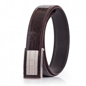 Mens Business Belt Genuine Calfskin Leather Croco Emboss Steel Buckle Brown-Black Sizes 30-42