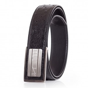 Ostrich Emboss Mens Leather Belt Black