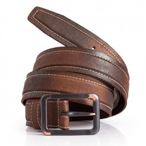 Mens Brown Leather Retro Belt Stitching Detail