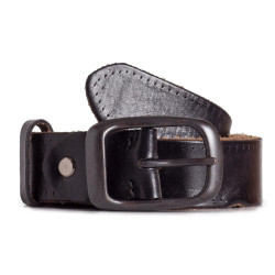 Jeans Leather Belt Raw Cowhide Black