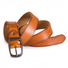 Jeans Leather Belt Raw Cowhide Orange